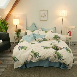 AIX Palm Tree Print Beige Duvet Cover Set (B1907022)