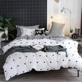 AIX Tiny Hearts White Duvet Cover Set (K1907001)