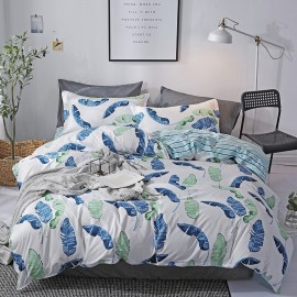 AIX Feather Leaf Print White Duvet Cover Set (K1907017)