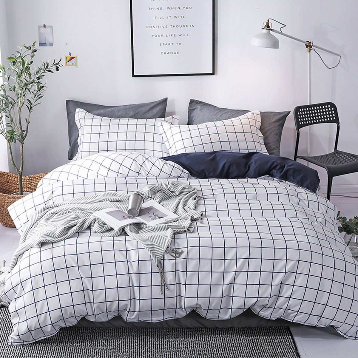 Aix Black White Grid Check Duvet Cover Set K1907019 0cm
