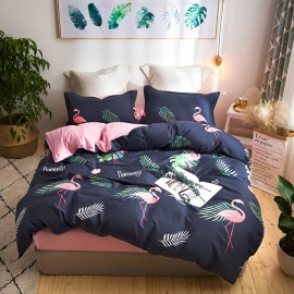 AIX Pink Flamingo Palm Leaves Navy Duvet Cover Set (X1907009)