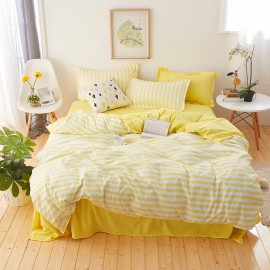 AIX Summer Sunshine Yellow Stripe Duvet Cover Set (X1907010)