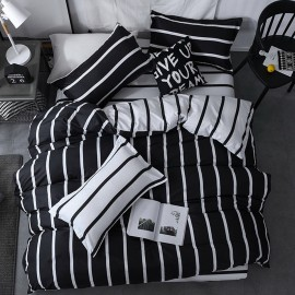 AIX Minimalist Black & White Stripe Duvet Cover Set (K1907005)