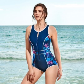 Balneaire Zip Front Floral One Piece (60885)