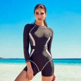 Balneaire Full Body Zip Back Closure Black One Piece (60889)