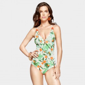 Balneaire V Neck Floral Pastel Green One Piece (60937)