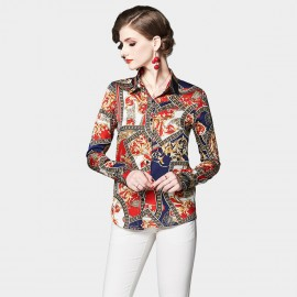 OFYA Scarf Print Red Button Up Shirt (1008)