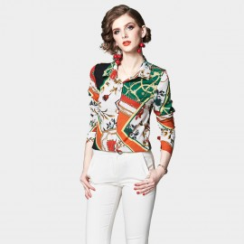 OFYA Abstract Floral Green Button Up Shirt (1009)