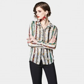 OFYA Golden Circle Stripe Button Up Shirt (2044)