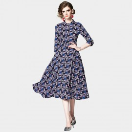OFYA Patterned Navy Button Up Midi Dress (6238)