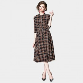 OFYA Button Up Check Midi Dress (6239)