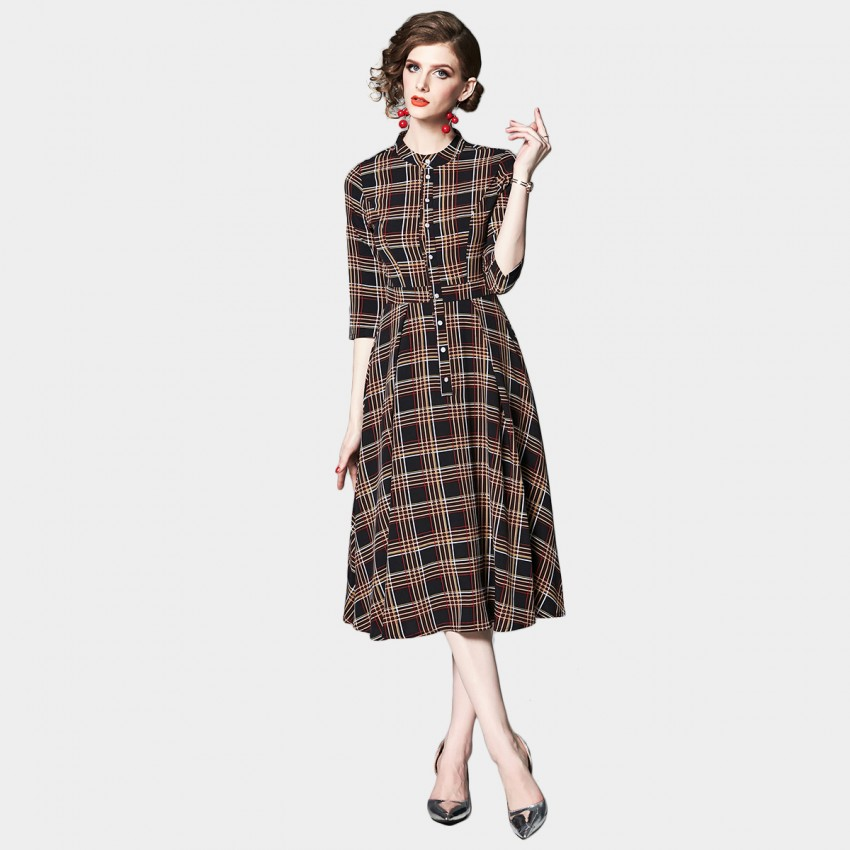 Buy OFYA Button Up Check Midi Dress online, shop OFYA with free shipping