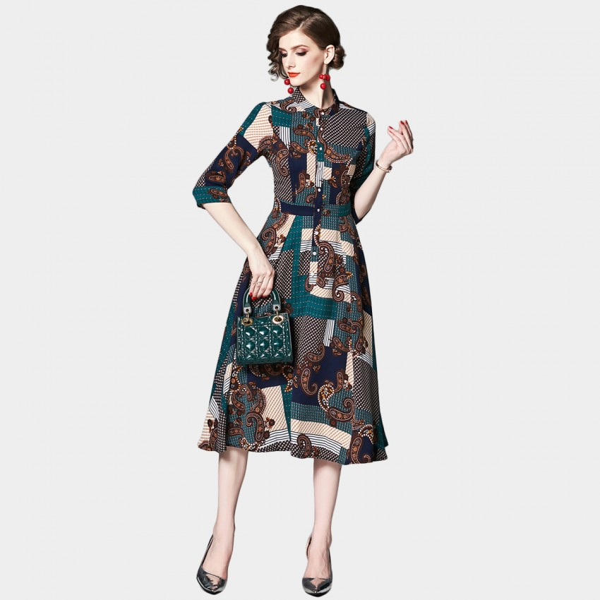 Buy OFYA Paisley Patchwork Green Midi Dress online, shop OFYA with free shipping