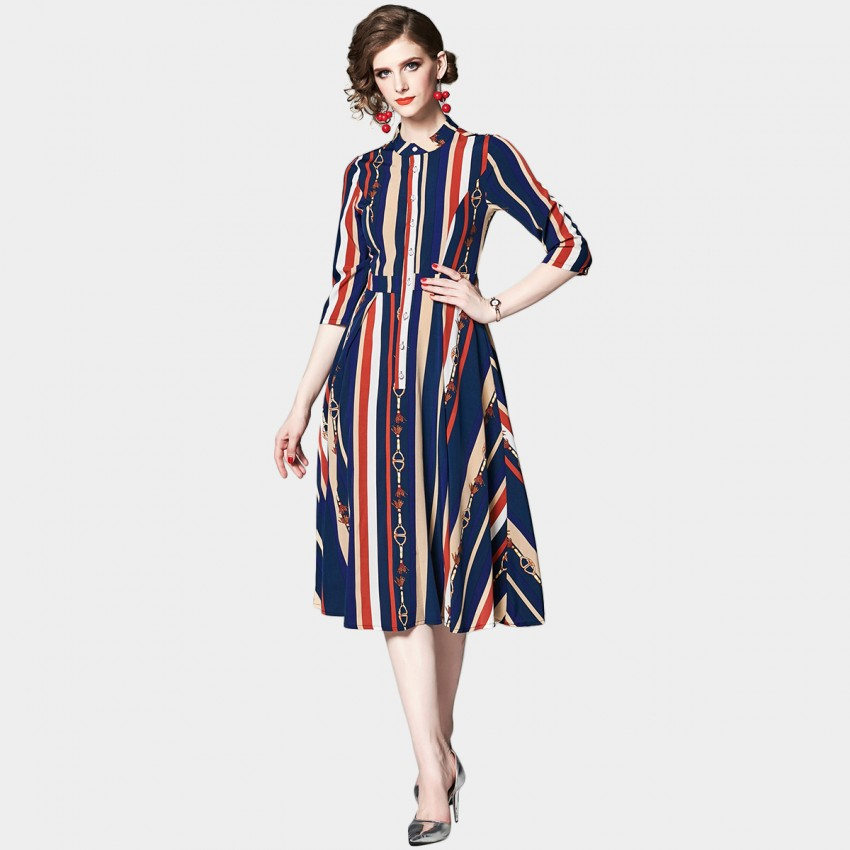 Buy OFYA Stripes & Chains Navy Midi Shirt Dress online, shop OFYA with free shipping