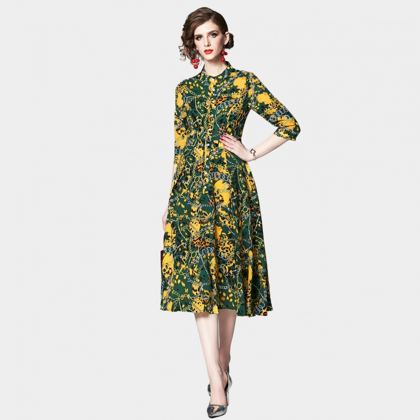 Buy OFYA Abstract Leopard Print Yellow Midi Dress online, shop OFYA with free shipping