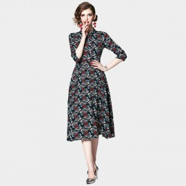 OFYA Fan Print Black Midi Shirt Dress (6243)