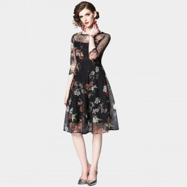 OFYA Floral Mesh Layer Black Dress (6246)