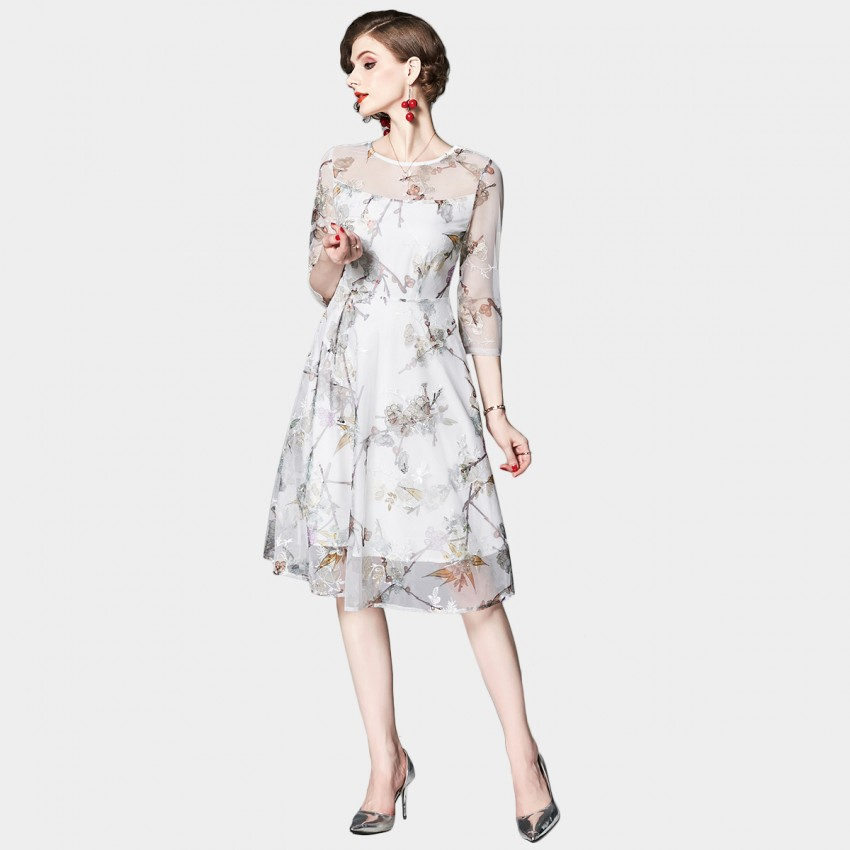 Buy OFYA Floral Mesh Layer White Dress online, shop OFYA with free shipping