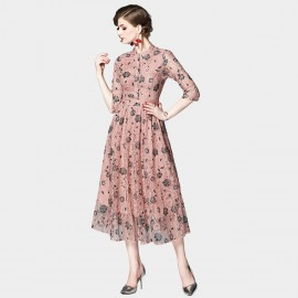 OFYA Floral Lace Pink Midi Shirt Dress (6247)