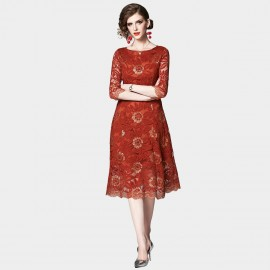 OFYA Scalloped Hem Red Lace Midi Dress (6248)