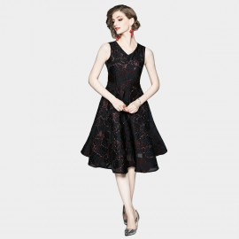 OFYA Elegant Sparkle Black A-Line Midi Dress (6250)