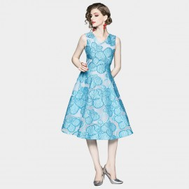 OFYA Elegant Blue A-Line Midi Dress (6250)