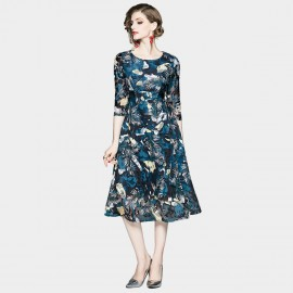 OFYA Tropical Print Navy A-Line Midi Dress (6252)