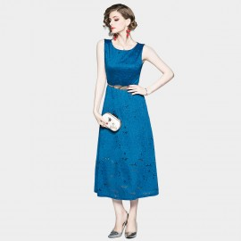 OFYA Sleeveless Lace Blue Midi Dress (6253)