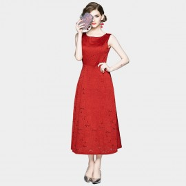 OFYA Sleeveless Lace Red Midi Dress (6253)