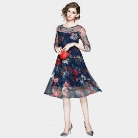 OFYA Sheer Floral Print Navy Dress (6255)