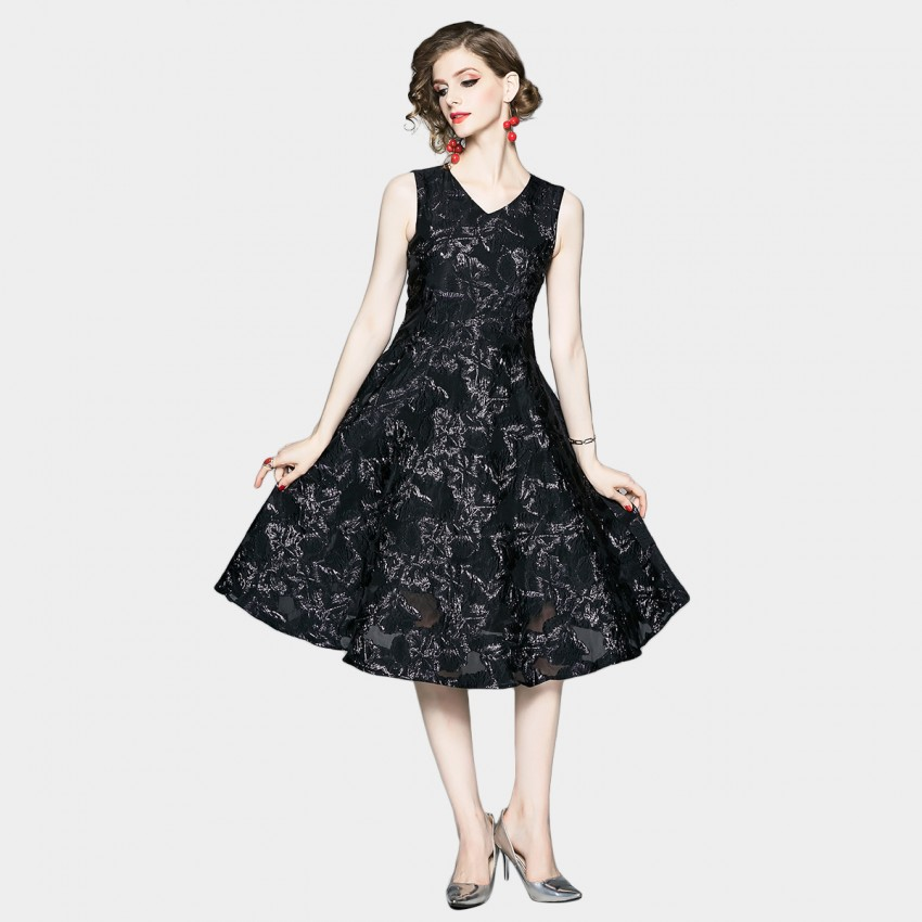Buy OFYA Textured Jet Black Fit and Flare Dress online, shop OFYA with free shipping