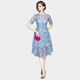 OFYA Field of Daisies Blue Lace Overlay Dress (6257)
