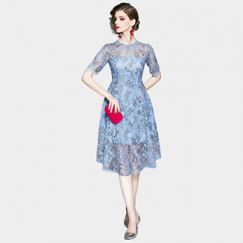 Buy OFYA Field of Daisies Blue Lace Overlay Dress online, shop OFYA with free shipping