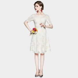 OFYA Lovable Broderie Lace Apricot Dress (6259)