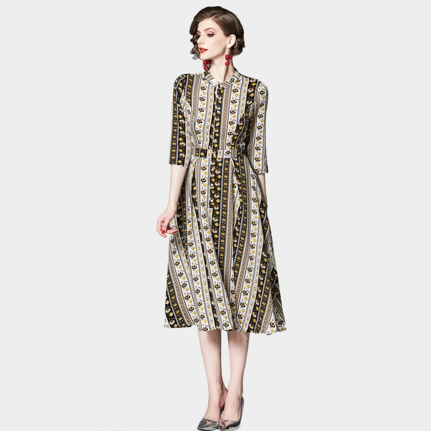 Buy OFYA High Neck Patterned Yellow Midi Dress online, shop OFYA with free shipping