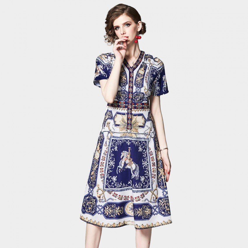 Buy OFYA Regal Printed Navy Short Sleeve Dress online, shop OFYA with free shipping