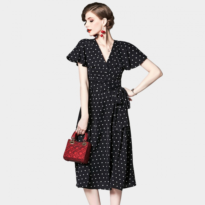 Buy OFYA Polka Dot Black Wrap Dress online, shop OFYA with free shipping