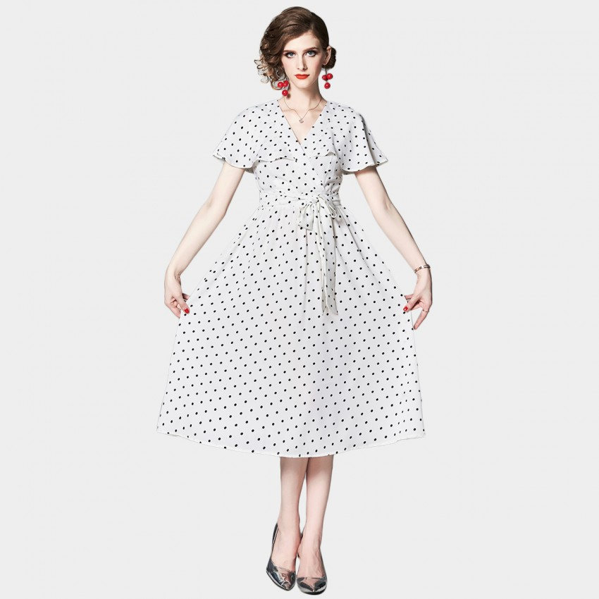 Buy OFYA Polka Dot White Wrap Dress online, shop OFYA with free shipping