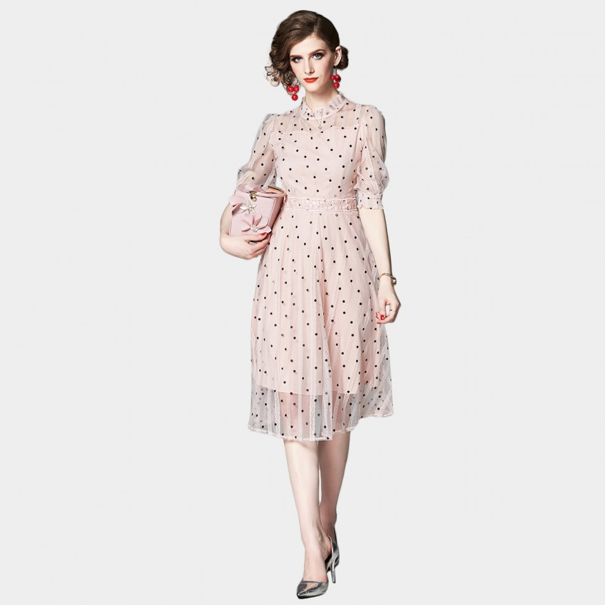 Buy OFYA Feminine Dotty Sheer Pink Dress online, shop OFYA with free shipping