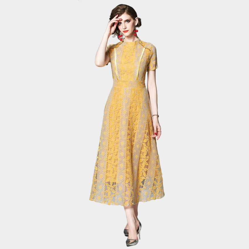 OFYA Timeless Marigold Yellow Lace Dress (6649)