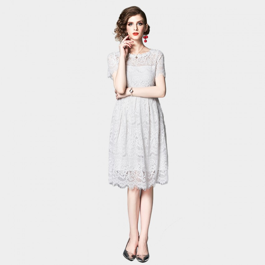 Buy OFYA Delicate Broderie White Lace Dress online, shop OFYA with free shipping