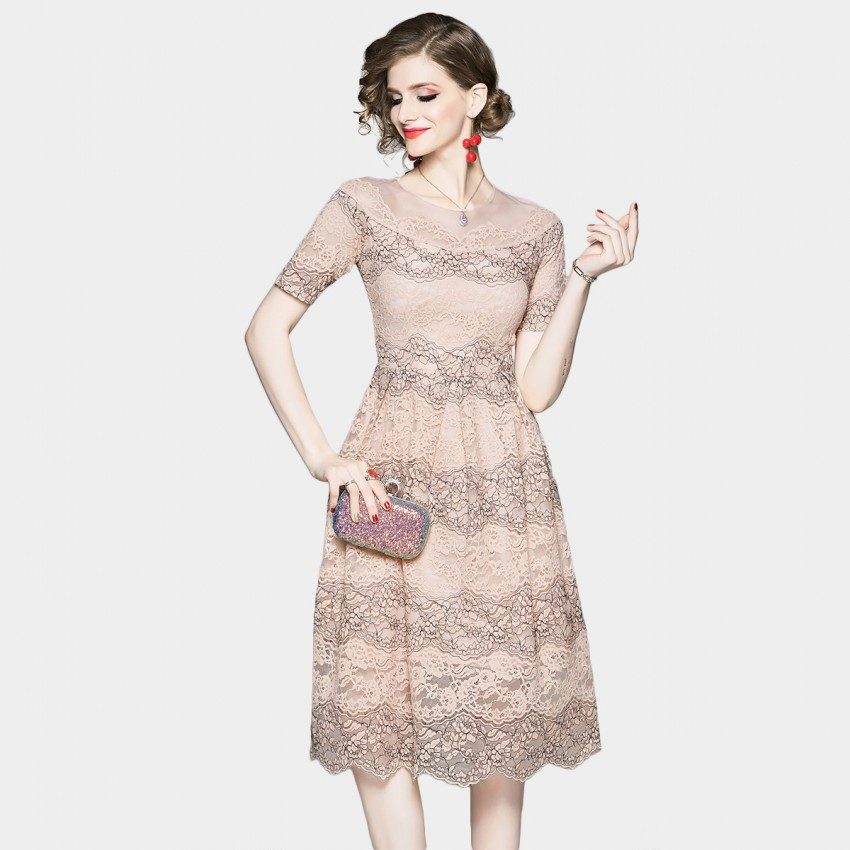 Buy OFYA Embroidered Apricot Lace Dress online, shop OFYA with free shipping