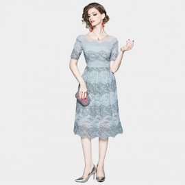 OFYA Embroidered Blue Lace Dress (6664)