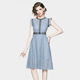 OFYA Frill Sleeve Blue Lace Dress (6665)