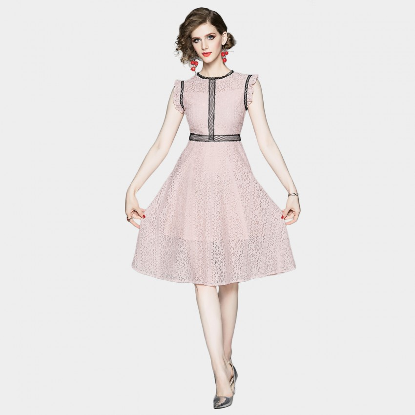 Buy OFYA Frill Sleeve Pink Lace Dress online, shop OFYA with free shipping