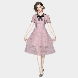 OFYA Pussy Bow Collar Pink Lace Dress (6667)