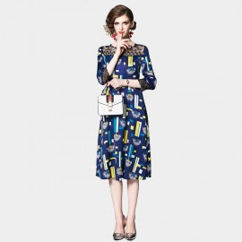 OFYA Block Print Navy Midi Dress (6710)