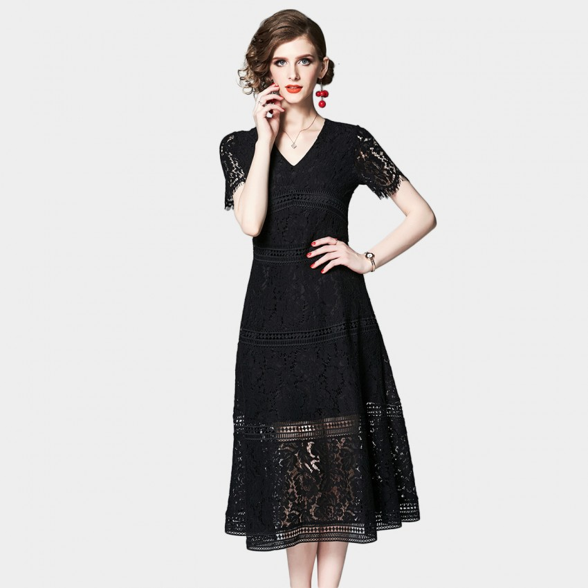 Buy OFYA Lace Trim Black Midi Dress online, shop OFYA with free shipping