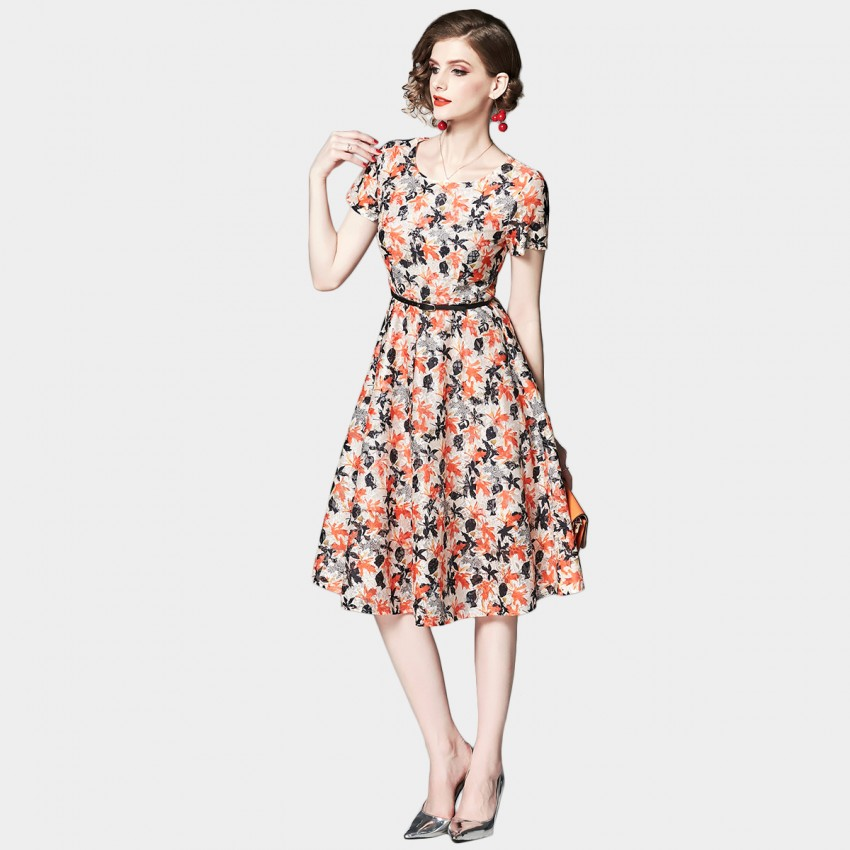Buy OFYA Abstract Leaf Print Floral Dress online, shop OFYA with free shipping