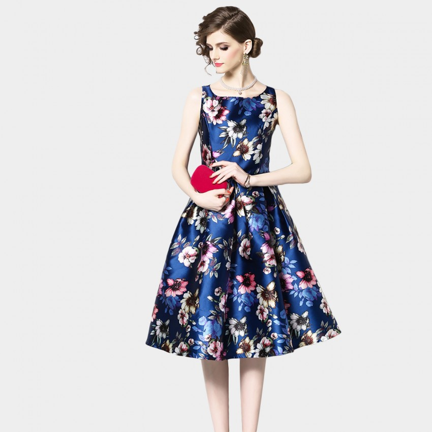 Buy OFYA Springtime Florals Navy A-line Dress online, shop OFYA with free shipping